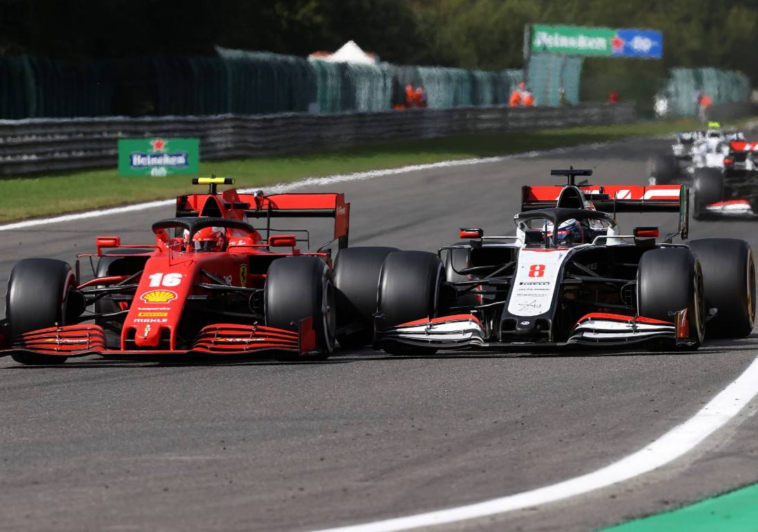 Charles Leclerc (Ferrari) and Romain Grosjean (Haas)