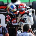 Romain Grosjean (left) congratulates Pierre Gasly on his Italian Grand Prix victory