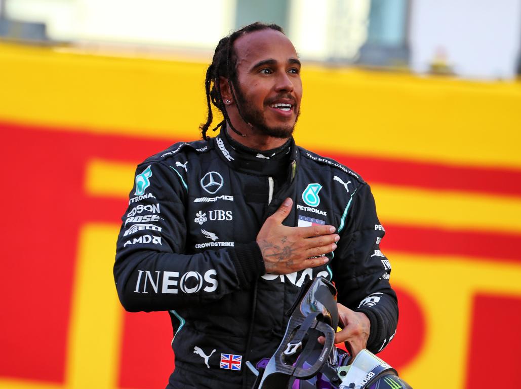 Lewis Hamilton celebrates Tuscan GP