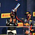 Alexander Albon and Lewis Hamilton