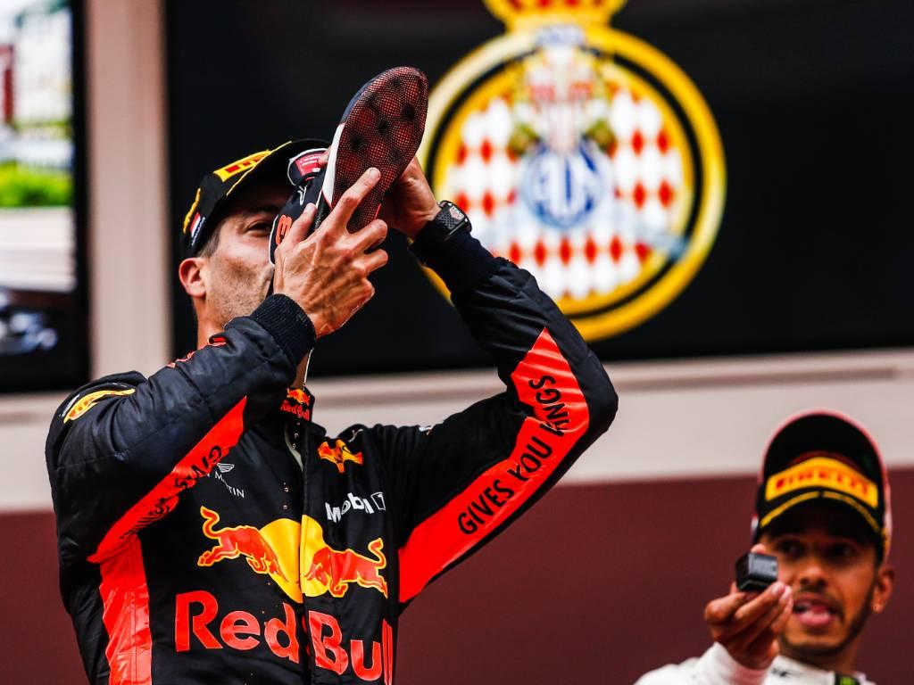 Daniel Ricciardo 'shoey' after 2018 Monaco Grand Prix
