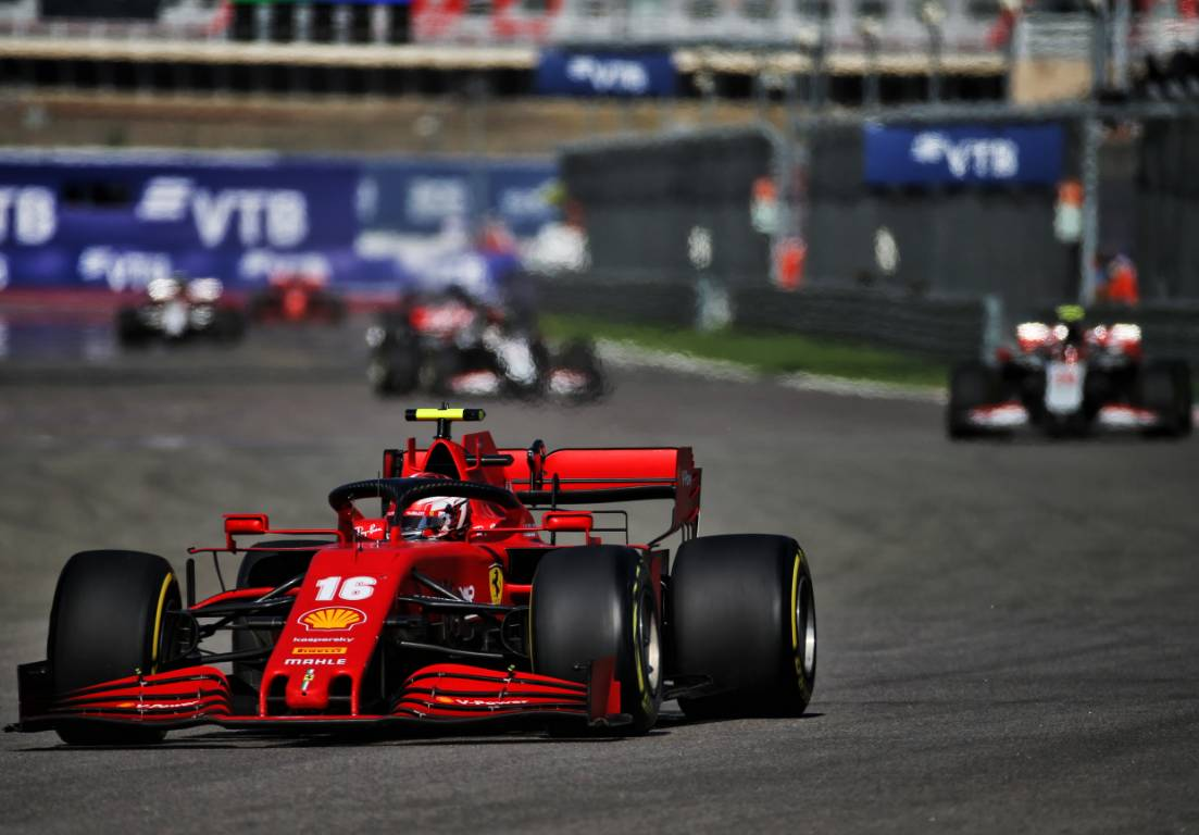 Charles Leclerc in action during the Russian Grand Prix