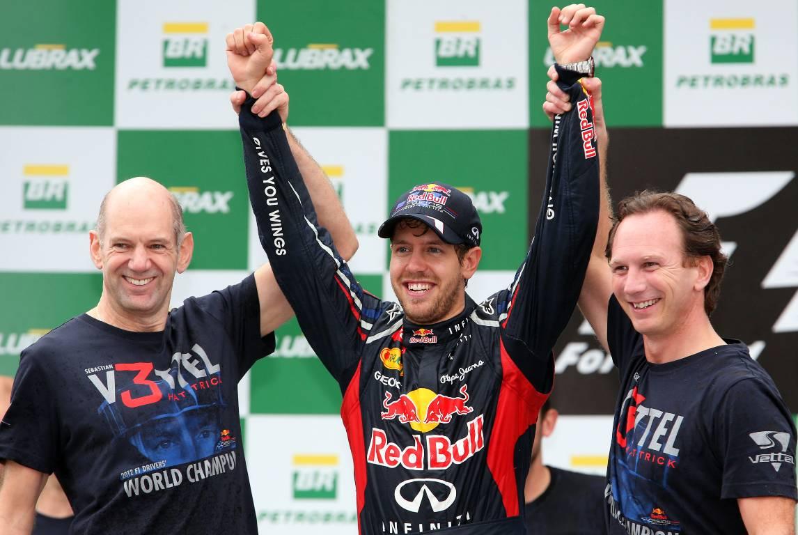 Red Bull's Adrian Newey, Sebastian Vettel and Christian Horner