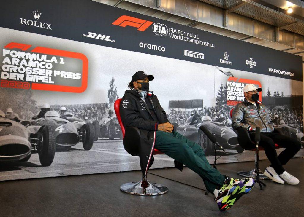Lewis Hamilton and Valtteri Bottas of Mercedes