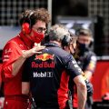 Ferrari's Mattia Binotto and Jonathan Wheatley of Red Bull
