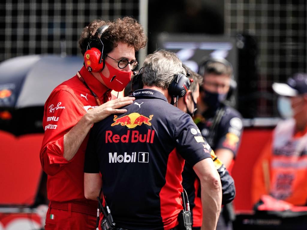 Ferrari's Mattia Binotto and Jonathan Wheatley of Red Bull