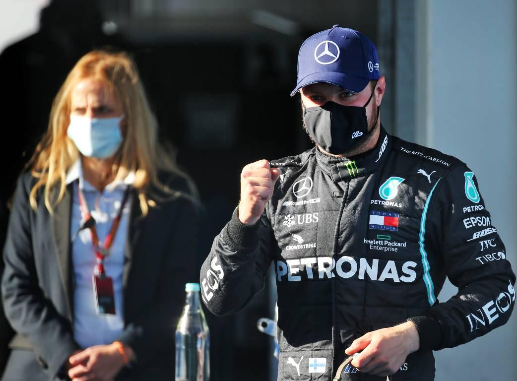 Valtteri Bottas celebrates pole position for the Eifel Grand Prix