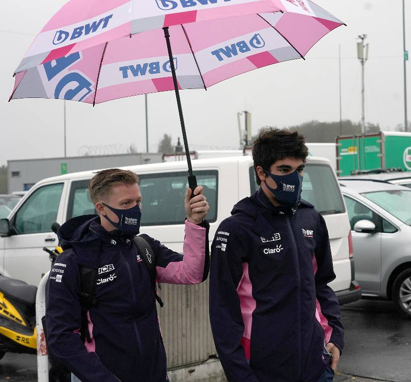 Lance Stroll arrives at the Nurburgring