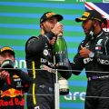 Lewis Hamilton, Daniel Ricciardo and Max Verstappen on the podium after the Eifel Grand Prix