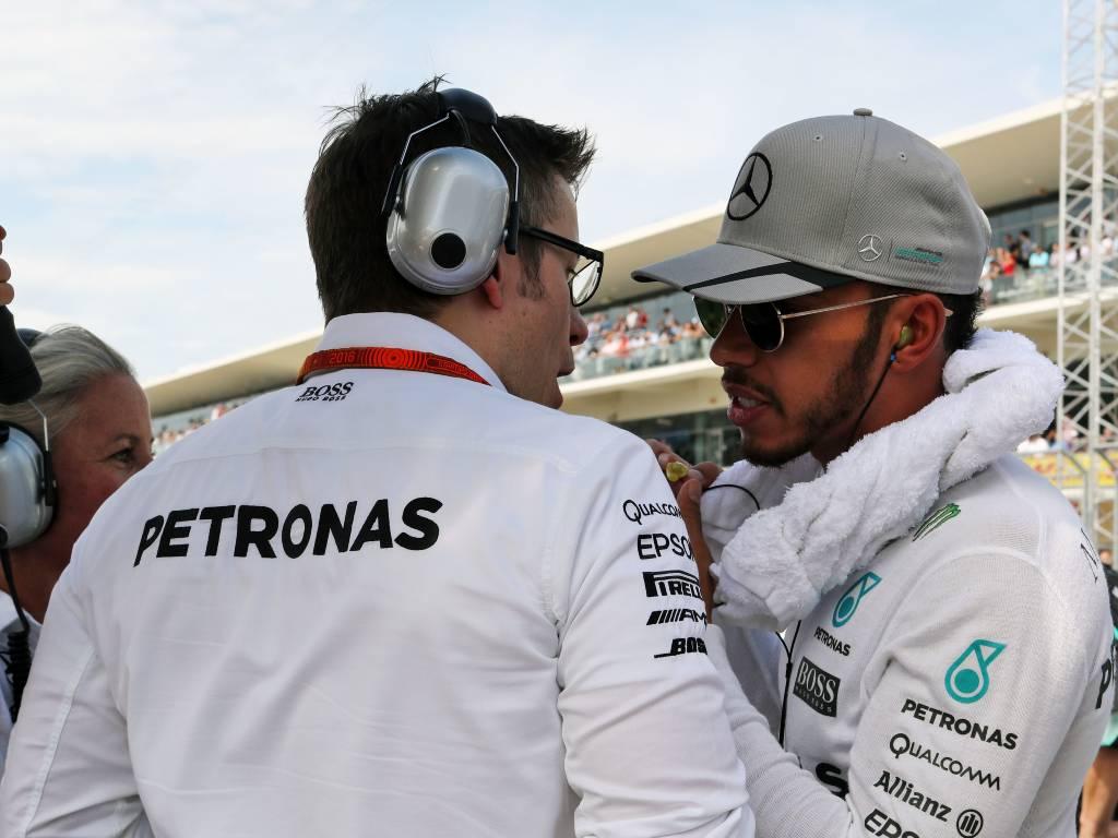 Lewis Hamilton talks to Mercedes' trackside engineering director Andrew Shovlin