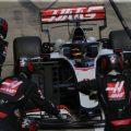Romain Grosjean (Haas) makes a pit stop