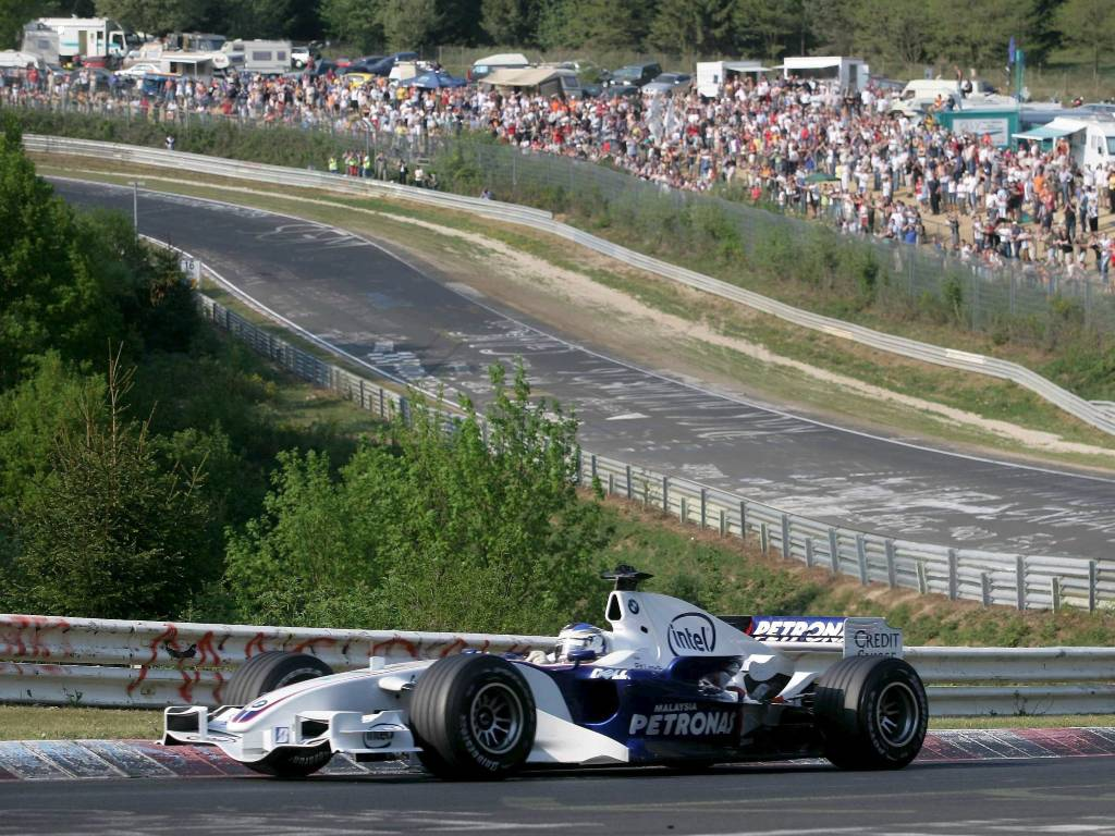 Nick Heidfeld drives a BMW-Sauber Formula 1 car on the Nordschleife