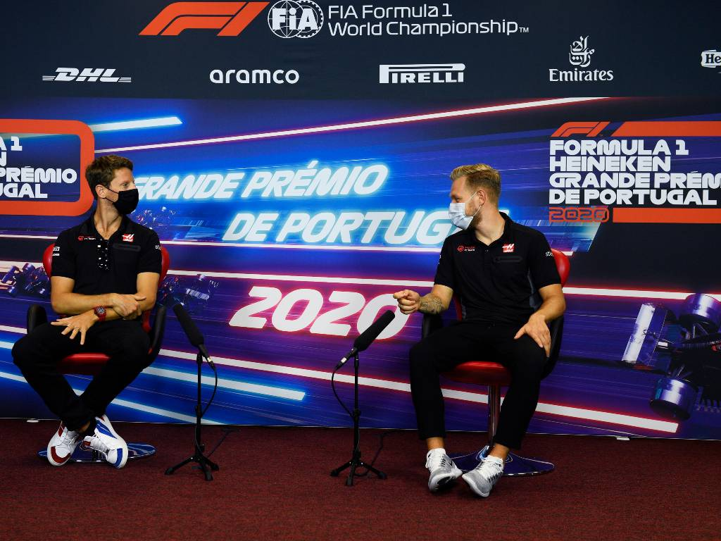 Romain Grosjean and Kevin Magnussen (Haas) during their press conference ahead of the Portuguese Grand Prix