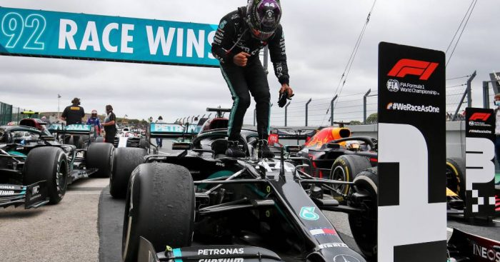 Lewis Hamilton after winning the Portuguese Grand Prix