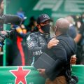 Lewis Hamilton with his father Anthony after the Portuguese Grand Prix
