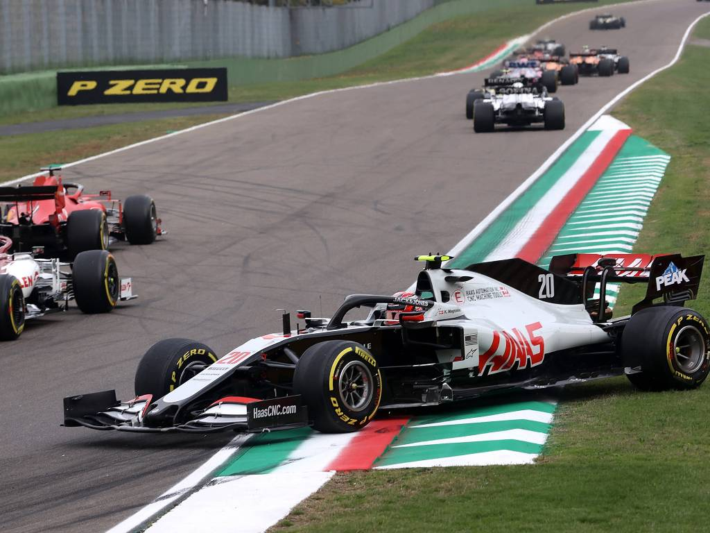 Kevin Magnussen spins his Haas on the first lap of the Emilia Romagna Grand Prix