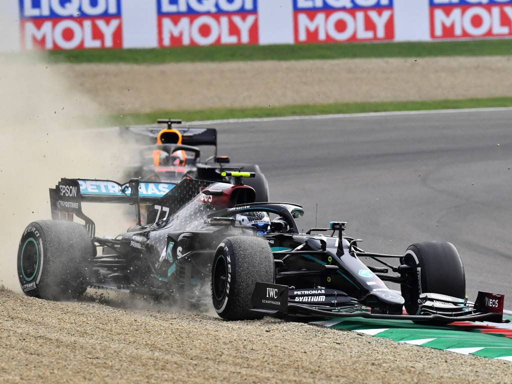 Valtteri Bottas runs wide in his Mercedes during the Emilia Romagna Grand Prix