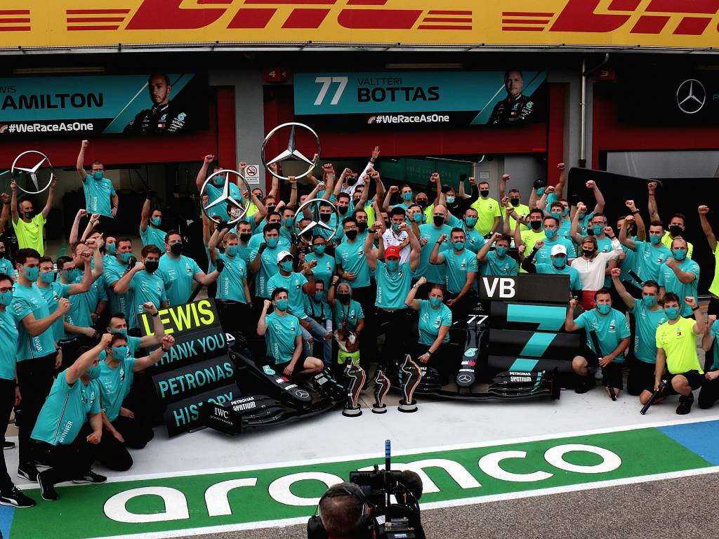 Mercedes celebrate their seventh consecutive constructors' World Championship