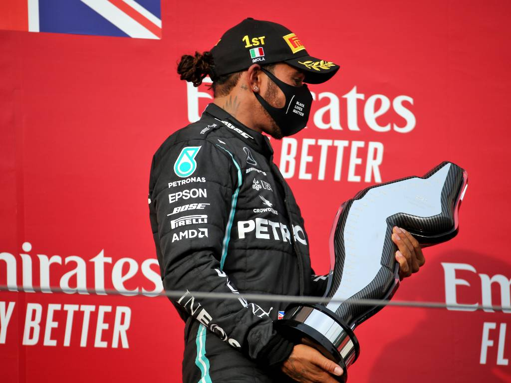 Lewis Hamilton with his trophy after winning the Emilia Romagna Grand Prix