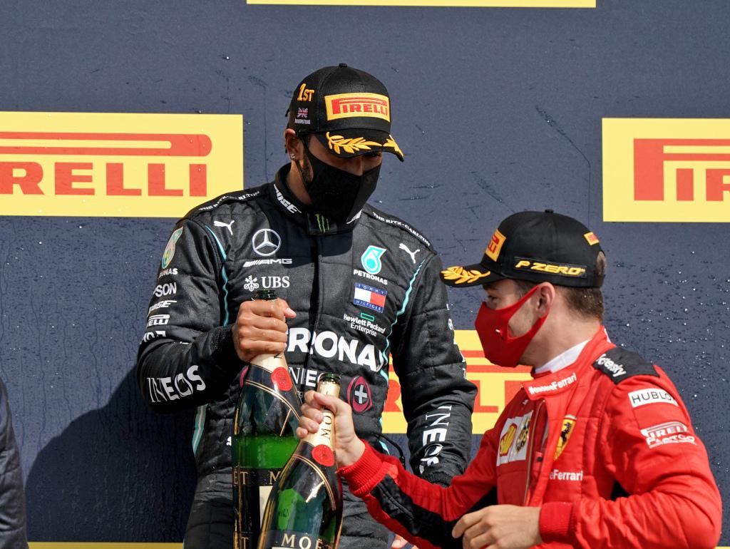 Charles Leclerc and Lewis Hamilton podium