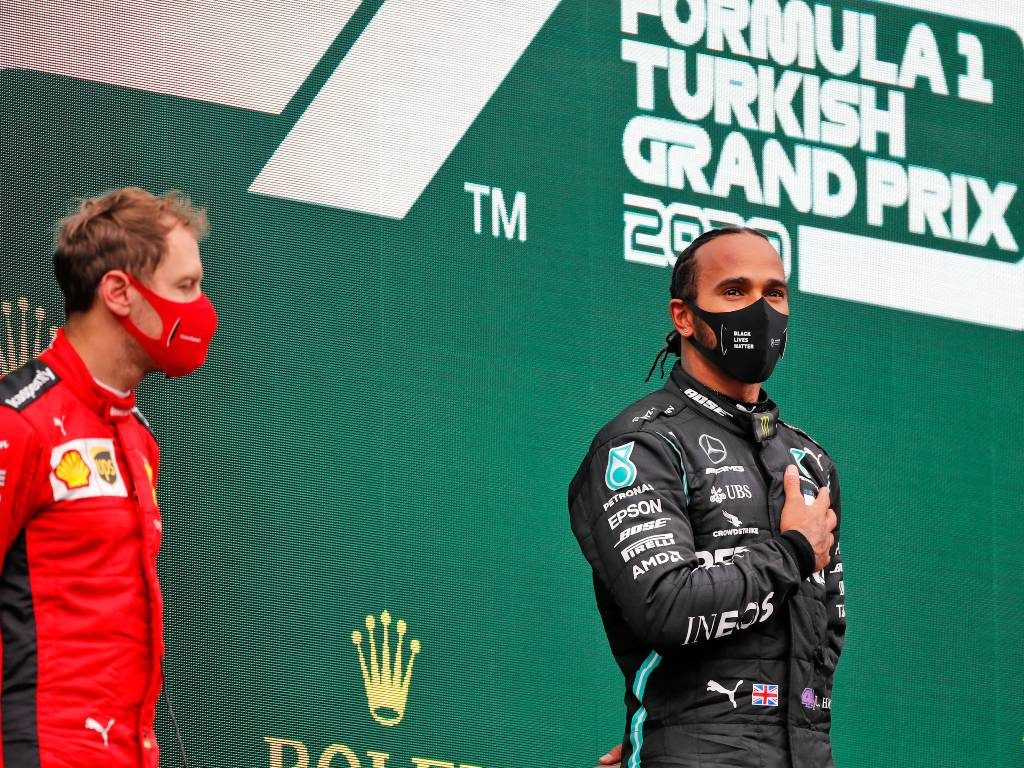 Lewis Hamilton and Sebastian Vettel on the Turkish Grand Prix podium