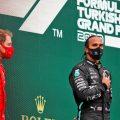 Lewis Hamilton and Sebastian Vettel on the Turkish Grand Prix podium