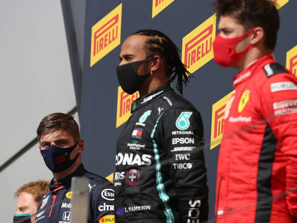 Max Verstappen, Lewis Hamilton, Charles Leclerc, British Grand Prix podium