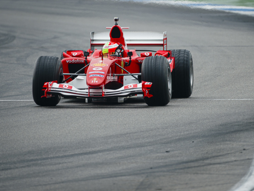 Mick driving Michael Schumacher's Ferrari F2004.