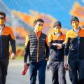 Lando Norris and members of the McLaren team during their track walk for the Turkish Grand Prix