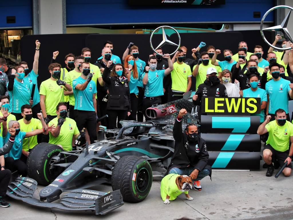 Mercedes celebrate the seventh World Championship for Lewis Hamilton