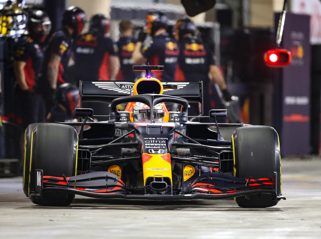 Max Verstappen leaves the pits Red Bull