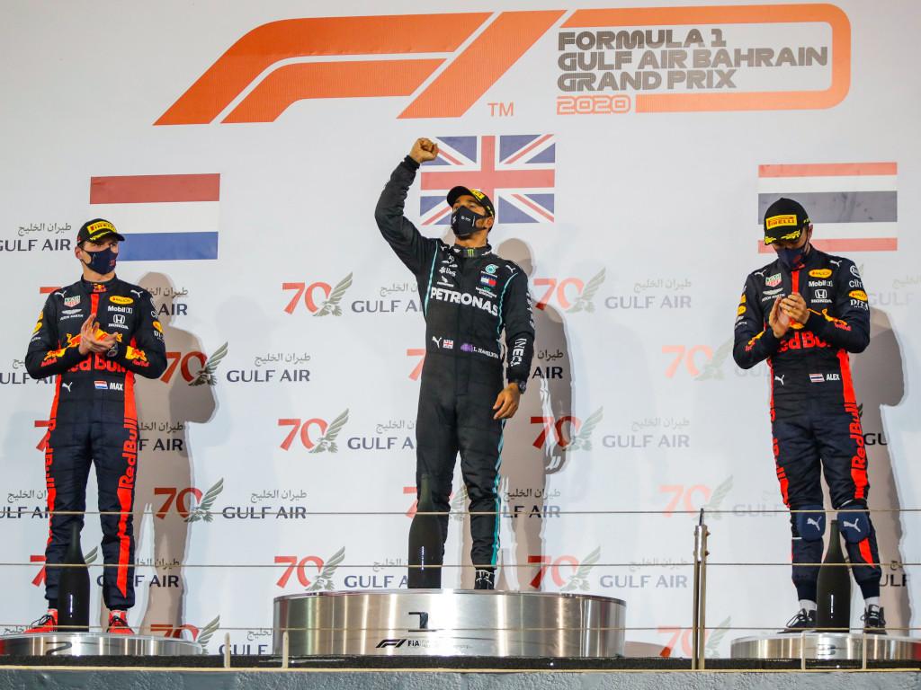 Max Verstappen and Alexander Albon Bahrain podium