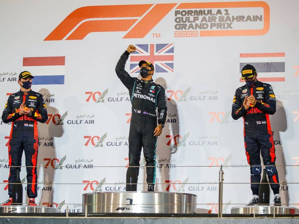 Bahrain Grand Prix 2020 podium - Lewis Hamilton, Max Verstappen, Alex Albon