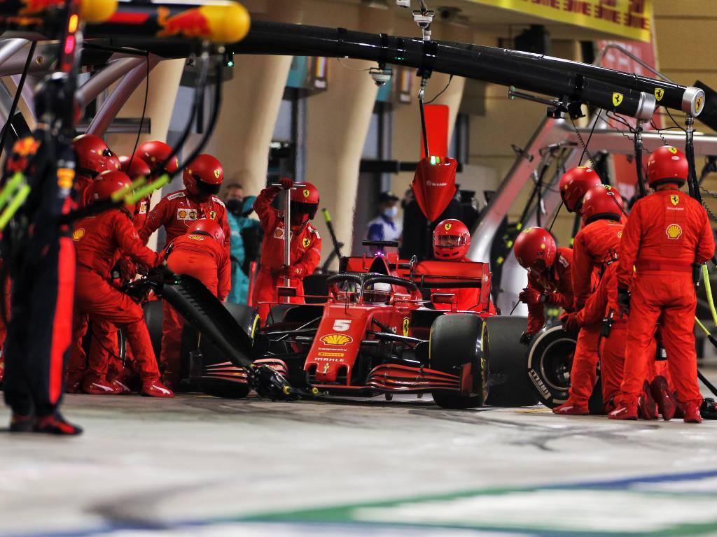Sebastian Vettel in the pits during the Sakhir Grand Prix