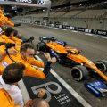 Carlos Sainz crosses the line as McLaren celebrate P3 in the constructors' World Championship