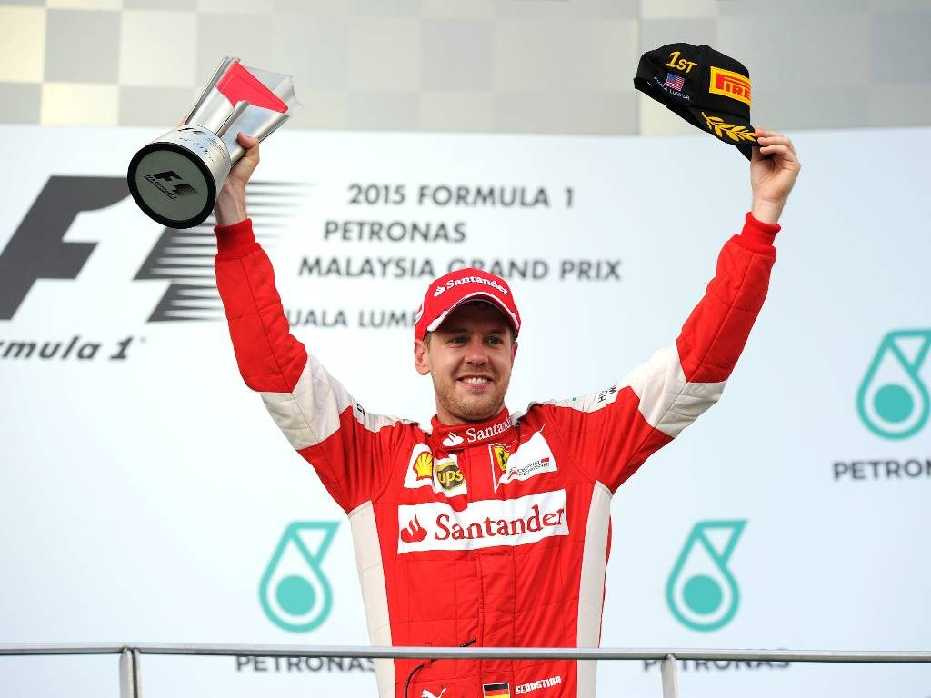 Sebastian Vettel, 2015 Malaysian Grand Prix podium