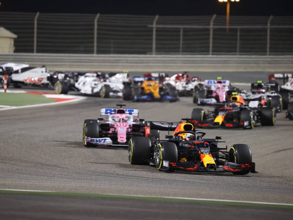 Max Verstappen ahead of Sergio Perez during the Bahrain Grand Prix