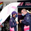 Sergio Perez and Tom McCullough of Racing Point