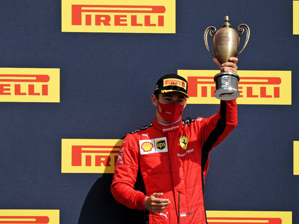 Charles Leclerc on the podium after finishing third in the 2020 British Grand Prix