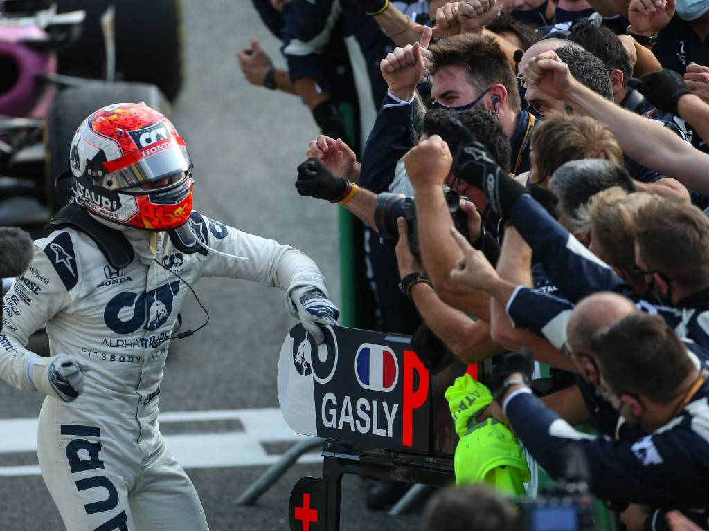Pierre Gasly celebrates his Italian Grand Prix win with the AlphaTauri team