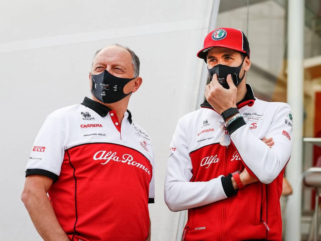 Frederic Vasseur and Antonio Giovinazzi of Alfa Romeo