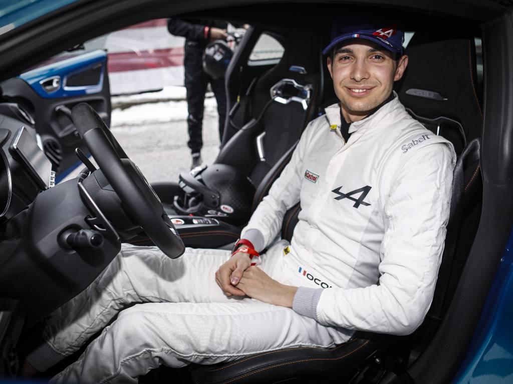 Esteban Ocon in the Alpine course car for the Monte Carlo Rally