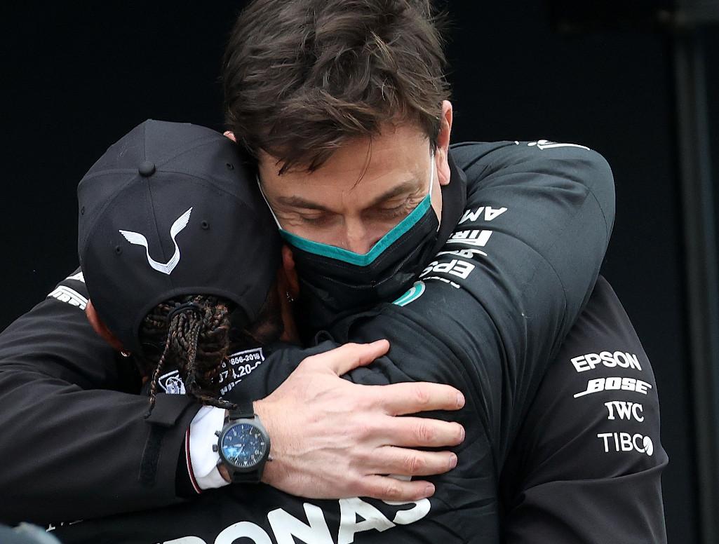 Lewis Hamilton and Toto Wolff hug