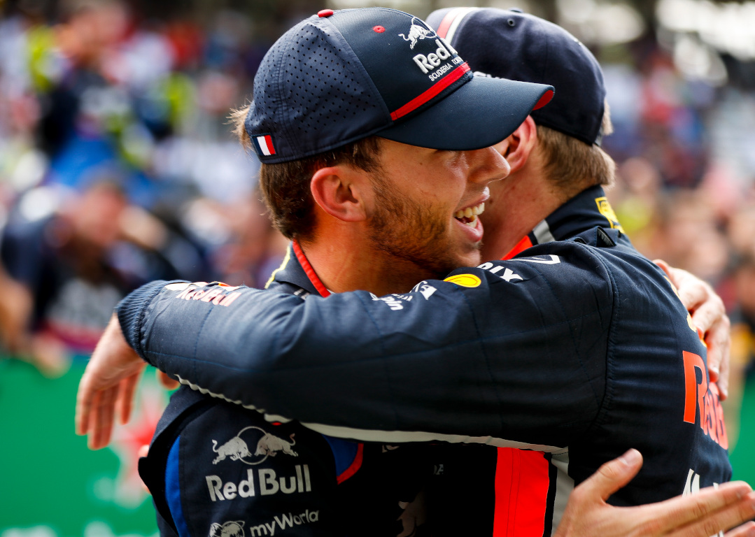 Max Verstappen and Pierre Gasly hug