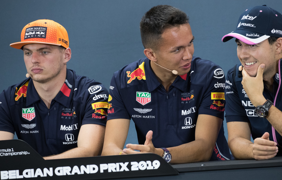 Max Verstappen Alex Albon and Sergio Perez press conference