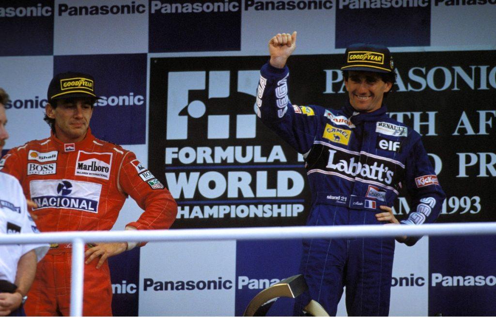 1993 South African Grand Prix podium - Alain Prost, Ayrton Senna