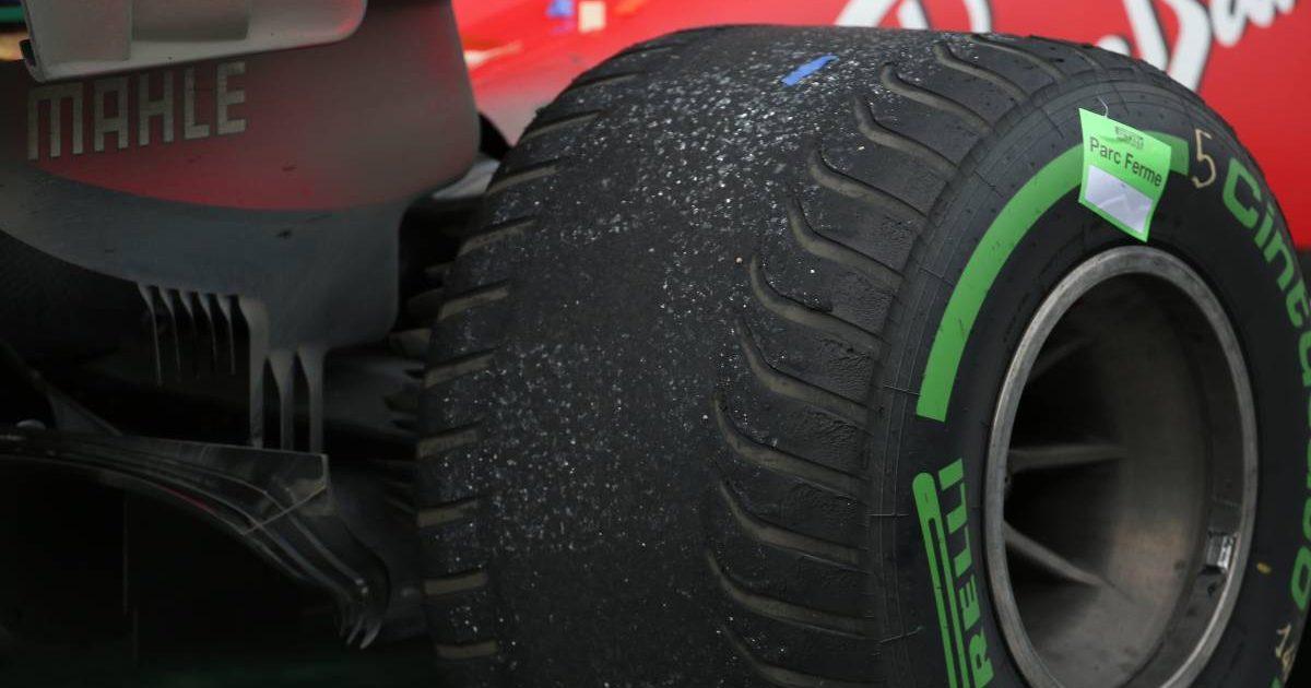 Intermediate Pirelli tyre on a Ferrari