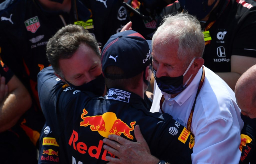 Max Verstappen Christian Horner and Helmut Marko