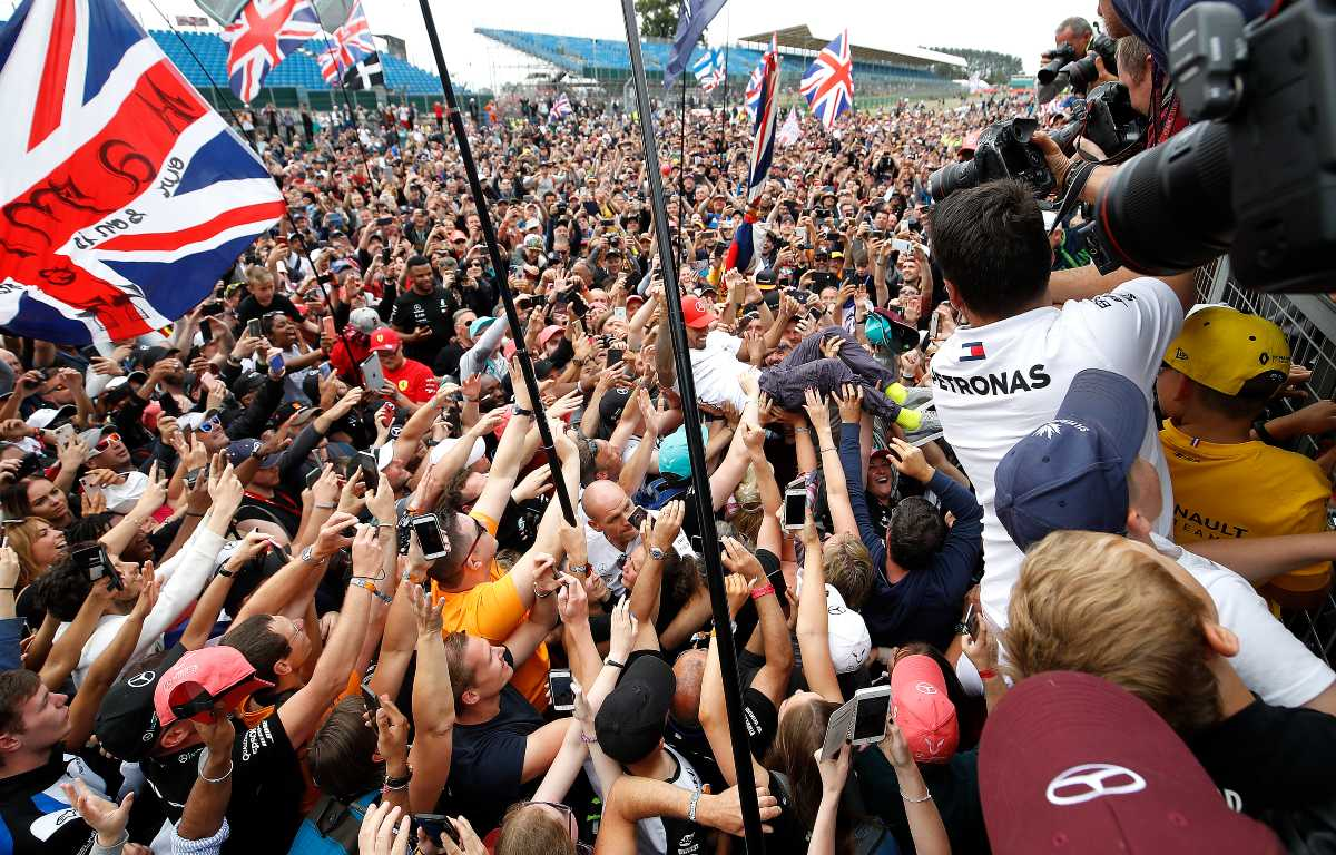 Silverstone Lewis Hamilton with fans
