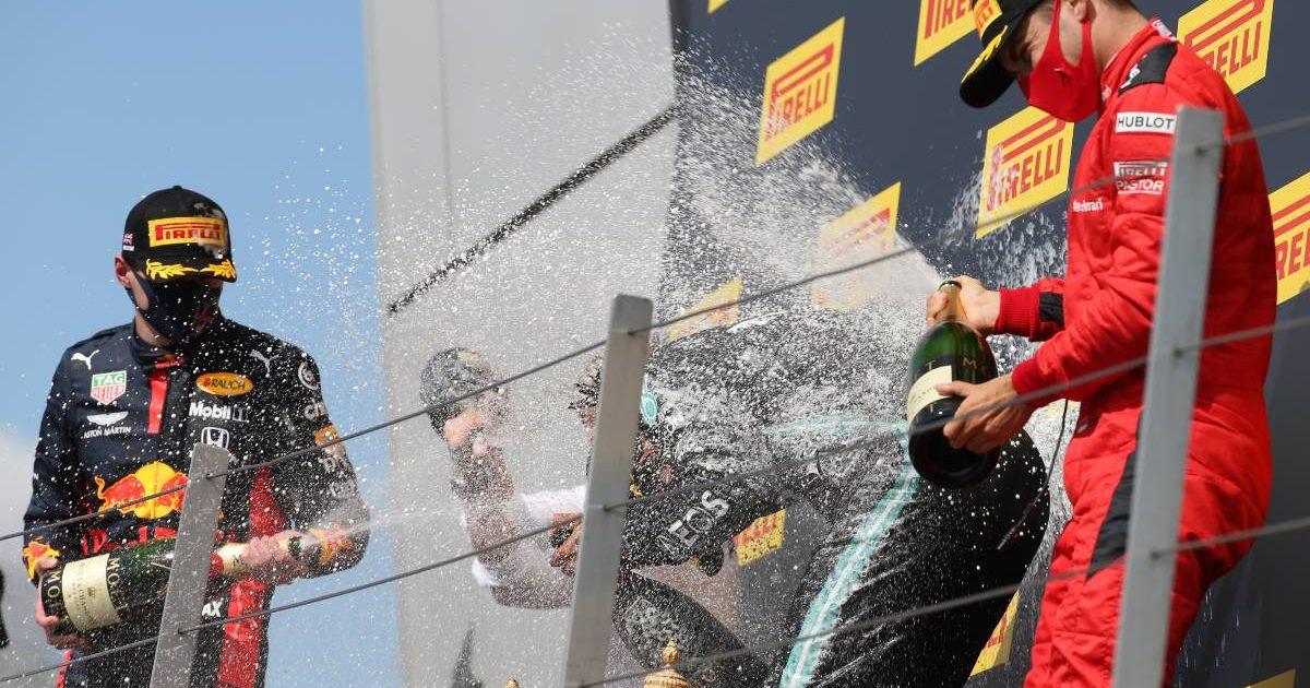 2020 British Grand Prix podium - Max Verstappen, Lewis Hamilton, Charles Leclerc